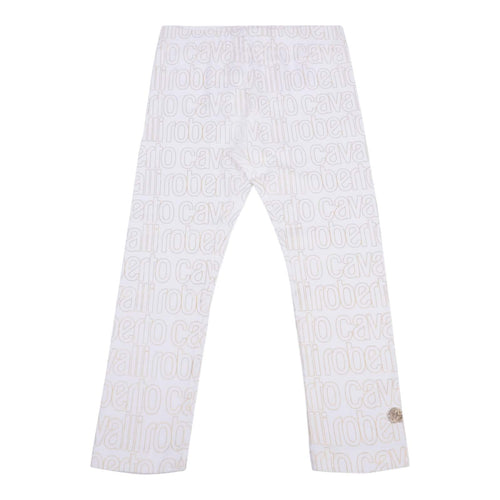 Ivory & Gold Logo Leggings