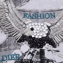Load image into Gallery viewer, Grey Sequin & Beaded Eagle Top