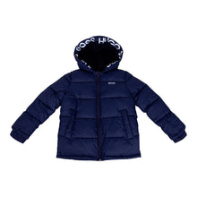 Load image into Gallery viewer, Navy Logo Hood Puffer Jacket