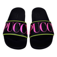 Load image into Gallery viewer, Black & Pink Pucci Sliders