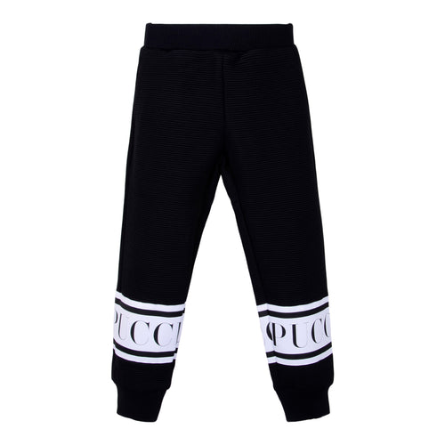 Black Ribbed Sweat Bottoms