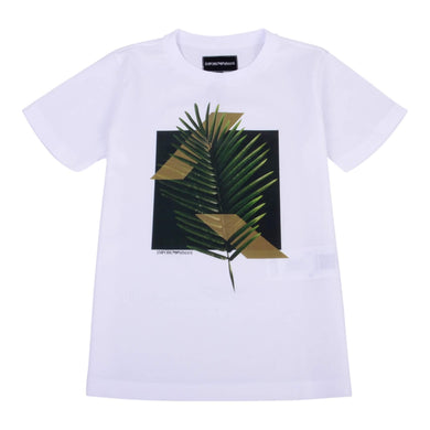 Emporio Armani Boys Sale White Leaf Print T-Shirt