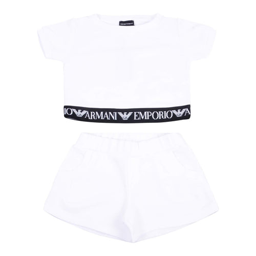 Emporio Armani Sale Girls White Shorts Sweat Set
