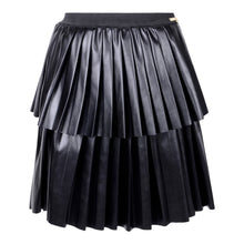 Load image into Gallery viewer, Black Faux Leather Pleated Skirt