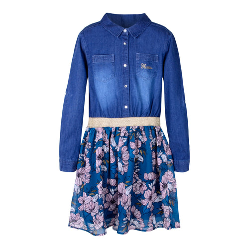 Blue Denim Flower Print Dress