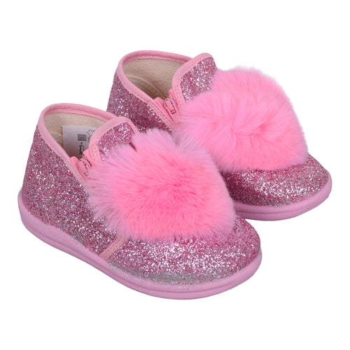 Pink Glitter Fur Heart Shoe