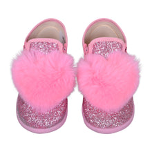 Load image into Gallery viewer, Pink Glitter Fur Heart Shoe