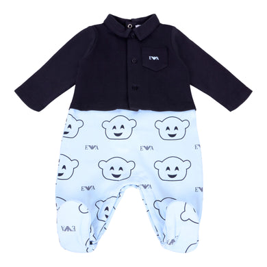 Navy & Blue Manga Bear Babygrow