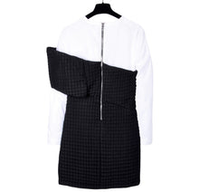 Load image into Gallery viewer, Black & White Quilted T-Shirt Dress