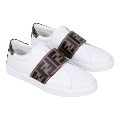 White FF Leather Trainer