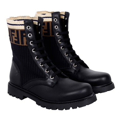 Black Leather FF Boots