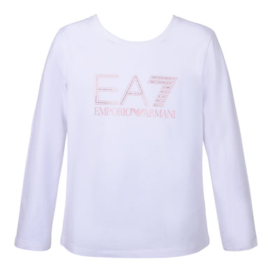 Girls White EA7 Top