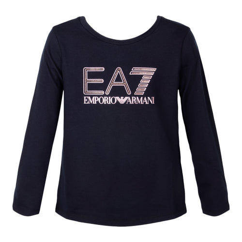 Girls Black EA7 Top