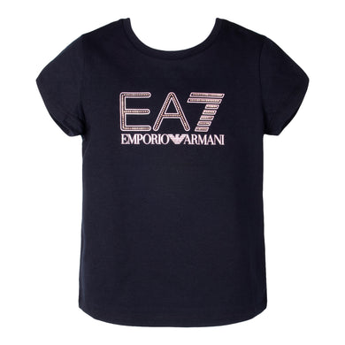 Girls Black EA7 T-Shirt