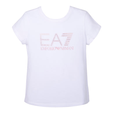 Girls White EA7 T-Shirt