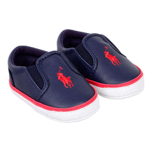 Load image into Gallery viewer, Navy Slip On Pre Walker Trainer