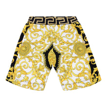 Load image into Gallery viewer, Young Versace Boys Sale White & Gold Baroque Shorts