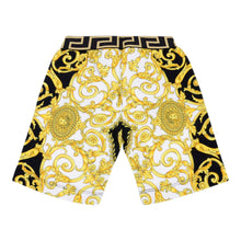 Load image into Gallery viewer, White & Gold Baroque Shorts