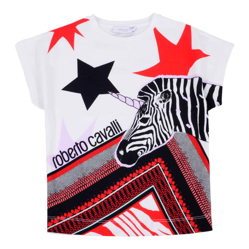 White Zebra & Star Print T-Shirt