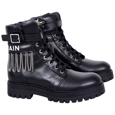 Black Leather & Chain Boots