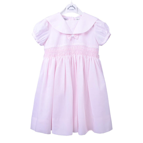 Pink Sailor Collar Smock Dress