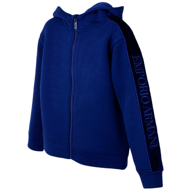 Blue Neoprene Zip Up Hoodie