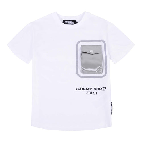 Jeremy Scott Boys Sale White Silver Pocket T-Shirt