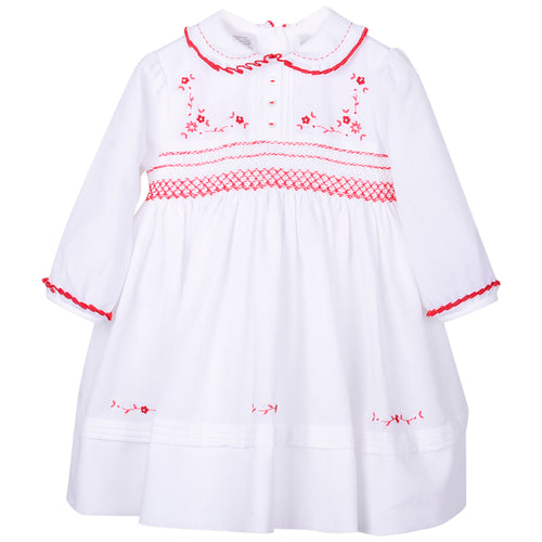 White & Red Smock Dress