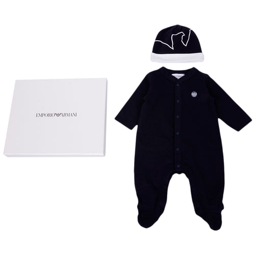 Navy Babygrow & Hat Gift Box