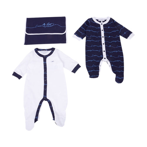 Navy & White 2 Pack Babygrow Set