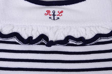 Load image into Gallery viewer, Girls Navy & White Knitted Sailor Shortie
