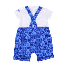 Load image into Gallery viewer, Blue & White Dungarees Set