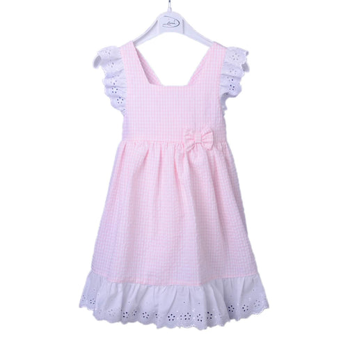 Pink Checked Frill Dress