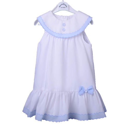 White & Blue Embroidered Frill Dress