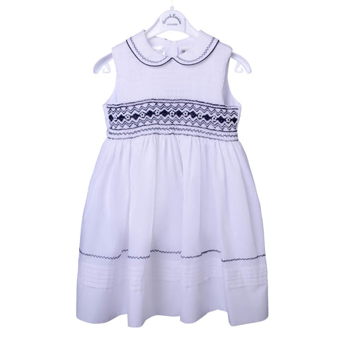 White & Navy Sleeveless Smock Dress