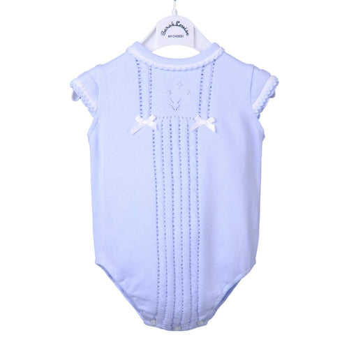 Pale Blue Girls Knitted Romper