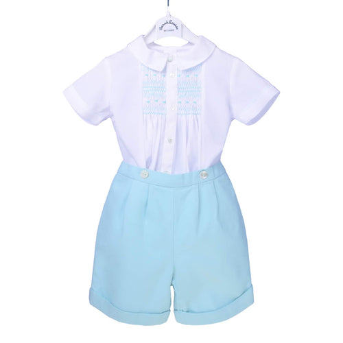 White & Mint Smock 2 Piece Set