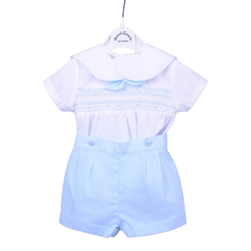 White & Blue Sailor Shirt & Shorts Set