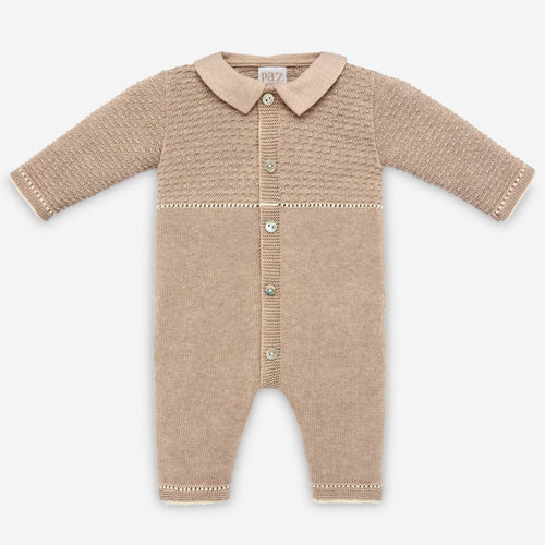 Brown Knitted Footless Babygrow