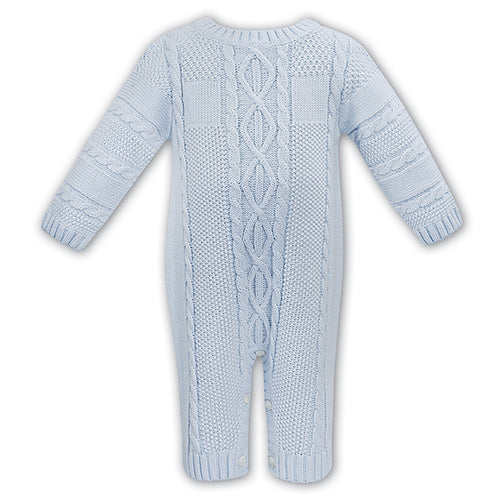Blue Cable Knit Babysuit
