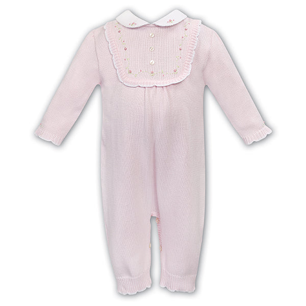 Pink Knitted Rose Babysuit