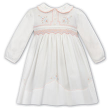 Load image into Gallery viewer, White & Peach Smock Dress