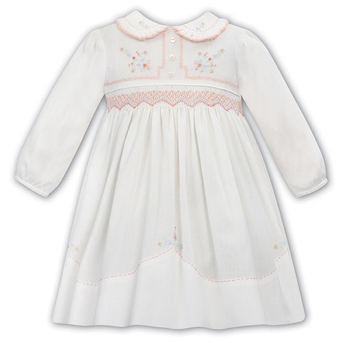 White & Peach Smock Dress