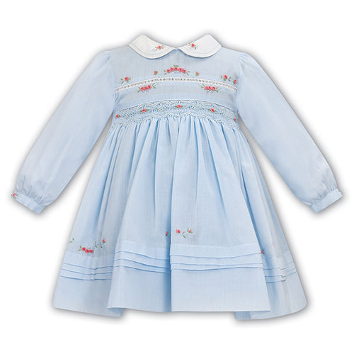 Blue Smocked Roses Dress