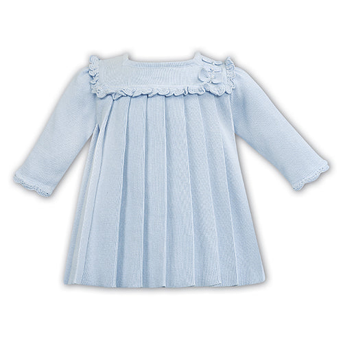 Blue Knitted Pleated Dress