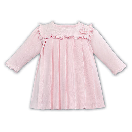 Pink Knitted Pleated Dress