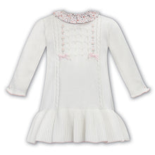 Load image into Gallery viewer, Ivory Knitted Floral Collar Dress