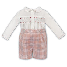 Load image into Gallery viewer, Boys Pink Check Smock Set