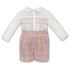 Boys Pink Check Smock Set