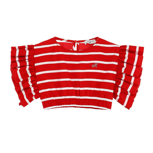 Red & White Stripe Cropped Top